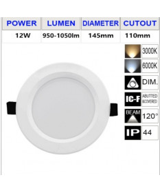 LED 12W 115mm Cut-out Downlight -White