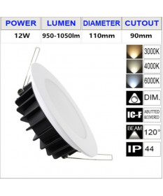 LED 12W 90mm Cut-out Downlight -White
