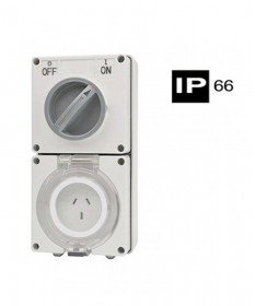 Industrial Combination Switched Socket, 3 Flat Pins, 10A, 250Vac, IP66