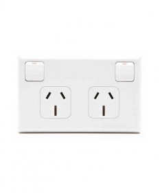 PDL 695/15,Double Horizontal Switched Socket Outlet, 15A, 250Vac.