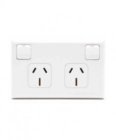 PDL 695, Double Horizontal Switched Socket Outlet, 10A, 240Vac.