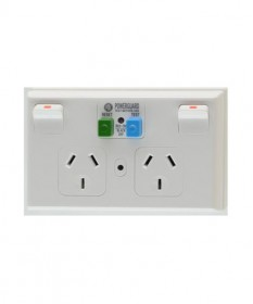 PDL 695RCD-30, Double Horizontal RCD Switched Socket Outlet, 10A, 30mA, 250Vac.