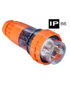 AB66P410, Industrial Plug, 4 Round Pins, 10A, 500Vac, IP66