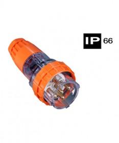 AB66P510, Industrial Plug, 5 Round Pins, 10A, 500Vac, IP66.