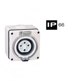 AB66SO410, Industrial Socket Outlet, 4 Round Pins, 10A, 500Vac, IP66