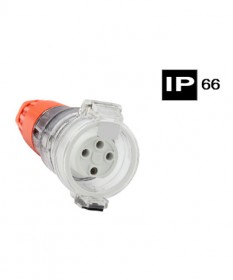AB66SCS432, Industrial Cord Connector, 4 Round Pins, 32A, 500Vac, IP66