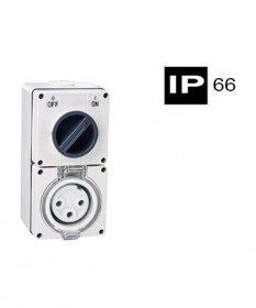 AB66CV310, Industrial Combination Switched Socket, 3 Round Pins, 10A, 250Vac, IP66