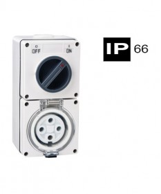 AB66CV410, Industrial Combination Switched Socket, 4 Round Pins, 10A, 500Vac, IP66