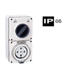 AB66CV510, Industrial Combination Switched Socket, 5 Round Pins, 10A, 500Vac, IP66