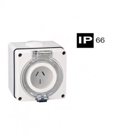 AB66SO310F, Industrial Socket Outlet, 3 Flat Pins, 10A, 250Vac, IP66