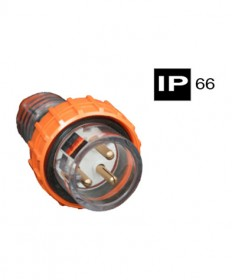 AB66P310, Industrial Plug, 3 Round Pins, 10A, 250Vac, IP66
