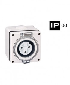 AB66SO310, Industrial Socket Outlet, 3 Round Pins, 10A, 250Vac, IP66
