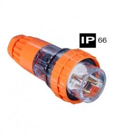 AB66P332, Industrial Plug, 3 Round Pins, 32A, 250Vac, IP66 - Orange.