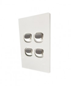 Slim 4 Gang Switch 16A - White
