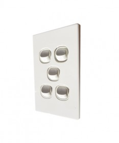 Slim 5 gang Switch 16A - White