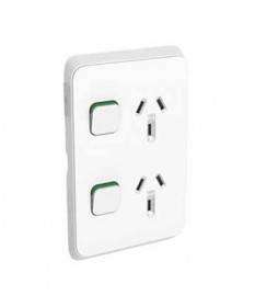 Iconic 392-VW, Double Vertical Switched Socket 10A, 250Vac - Vivid White