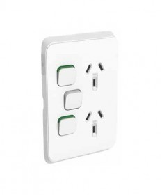 Iconic 392X-VW, Double Vertical Switched Socket 10A, 250Vac with Extra Switch - Vivid White