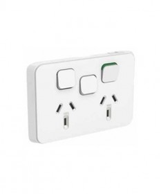 Iconic 395X-VW, Double Horizontal Switched Socket 10A, 250Vac with Extra Switch - Vivid White