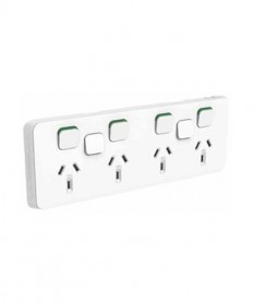 Iconic 395H4XXUA-VW - Quad Switched Sockets Horizontal with 2 Extra Switch, 10A, 250Vac