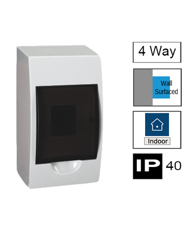4ways Switchboard, Surface Mounting, Transparent Door, IP40