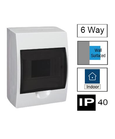 6ways Switchboard, Surface Mounting, Transparent Door, IP40