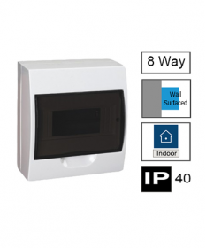 8ways Switchboard, Surface Mounting, Transparent Door, IP40