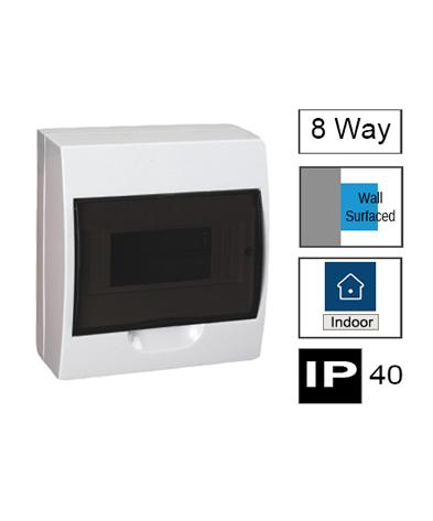 8ways Switchboard, Surface Mounting, Transparent Door, IP40