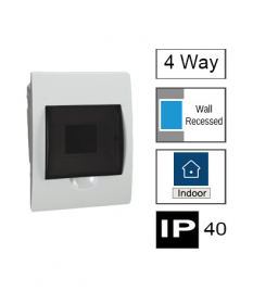 4ways Switchboard, Flush Mounting, Transparent Door, IP40