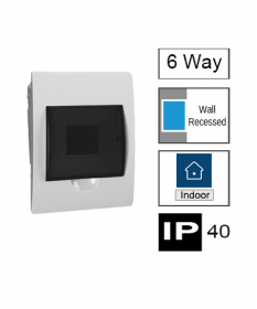 6ways Switchboard, Flush Mounting, Transparent Door, IP40