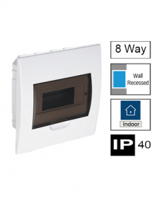 8ways Switchboard, Flush Mounting, Transparent Door, IP40