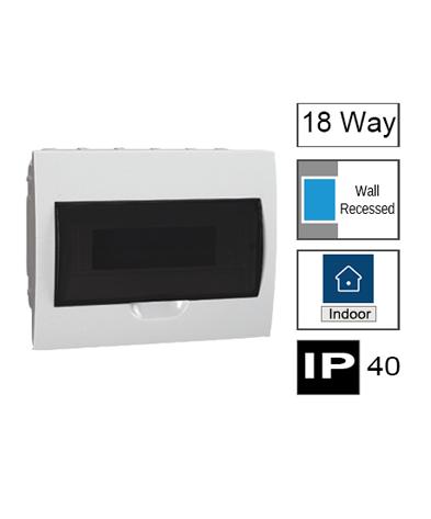 18ways Switchboard, Flush Mounting, Transparent Door, IP40
