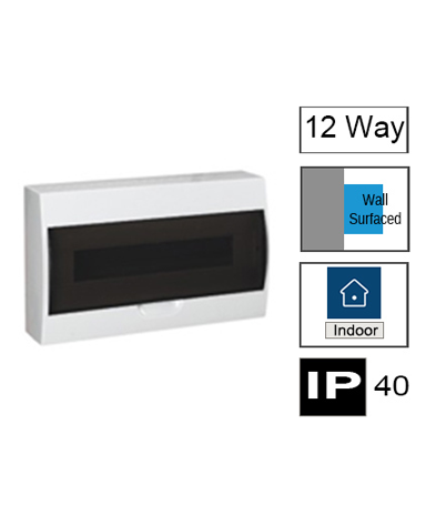 HM12/ST, 12ways Switchboard, Surface Mounting with Transparent Door, IP40.