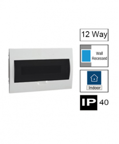 HM12/FT, 12way Switchboard, Flush Mounting with Transparent Door, IP40