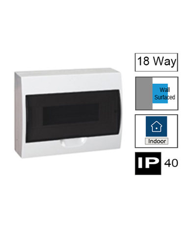 HM18/ST, 18ways Switchboard, Surface Mounting with Transparent Door, IP40